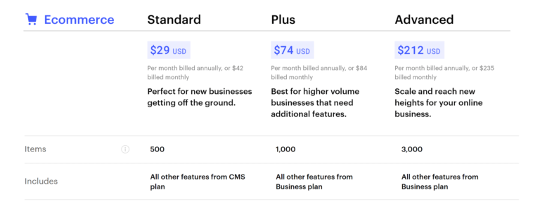 Webflow eCommerce Plans