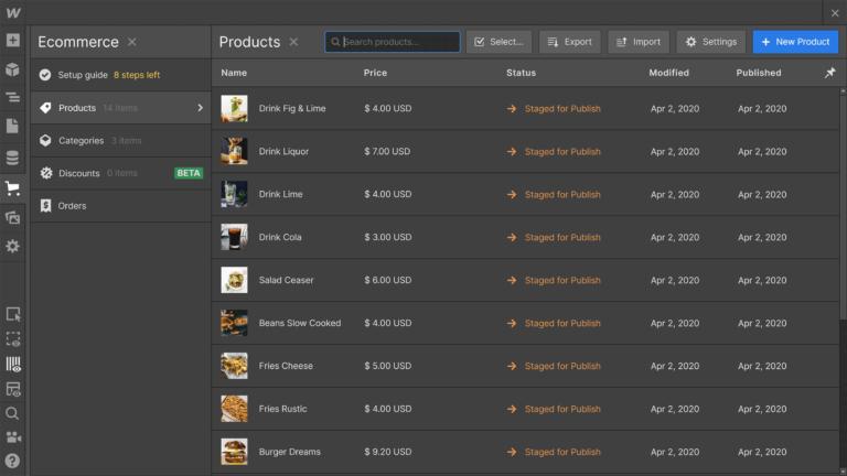 Webflow eCommerce Products