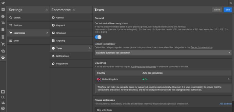Webflow taxes