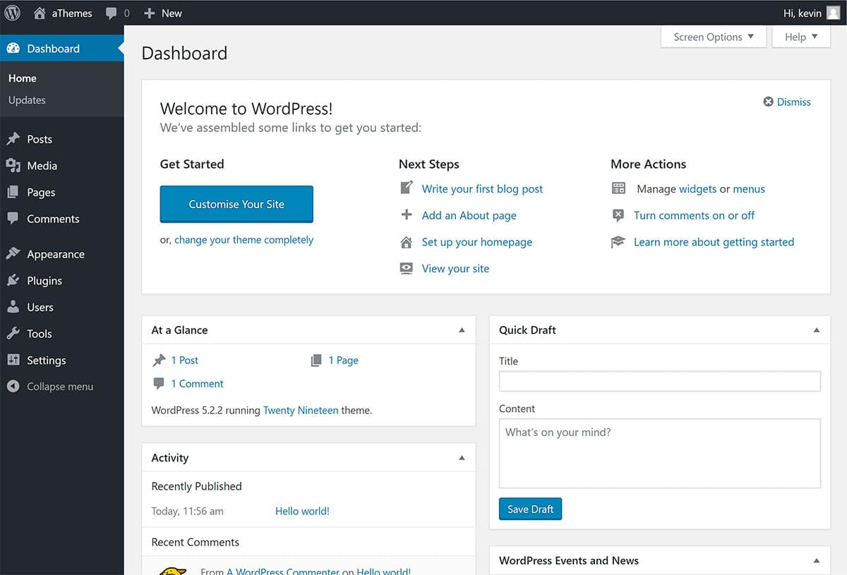 WordPress Admin Area