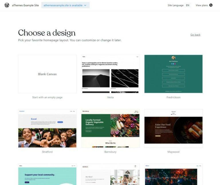 WordPress.com choose theme