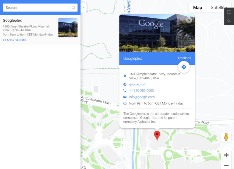 WordPress Google Maps example