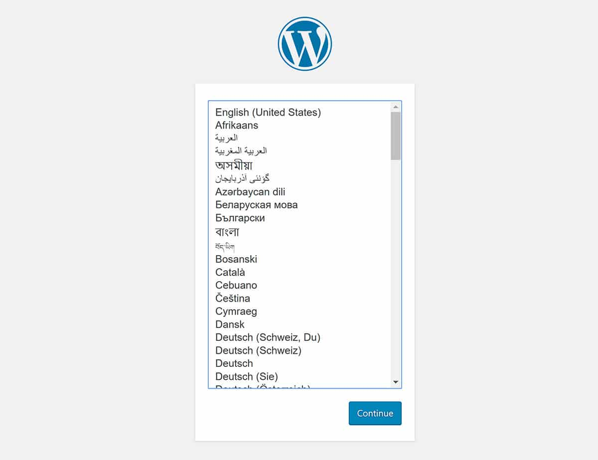 XAMPP WordPress installer language picker