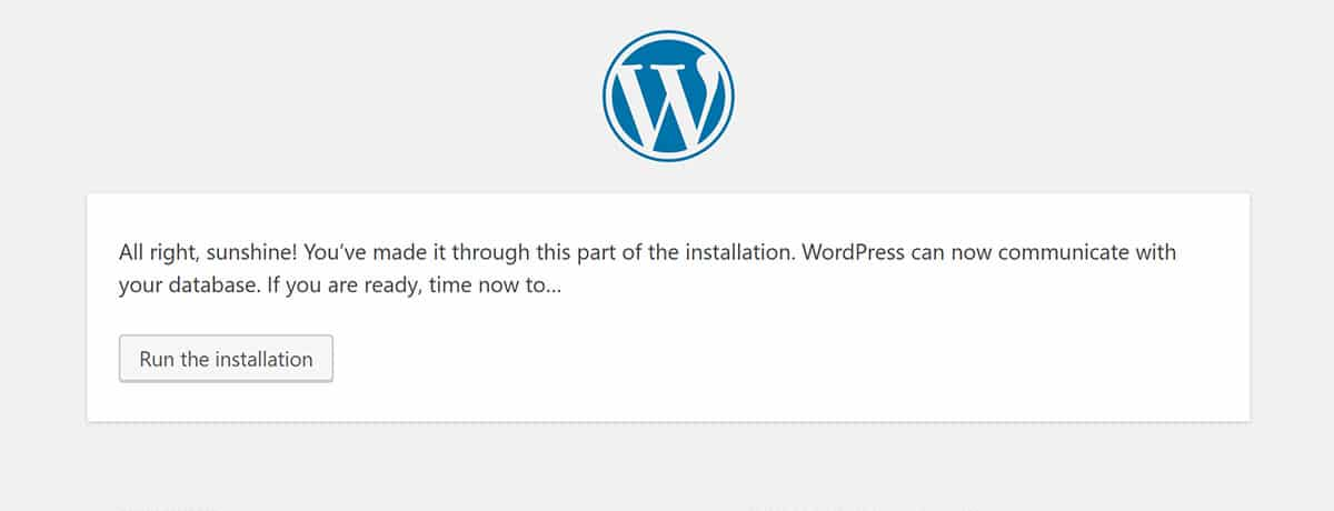 Run the WordPress Installation Wizard