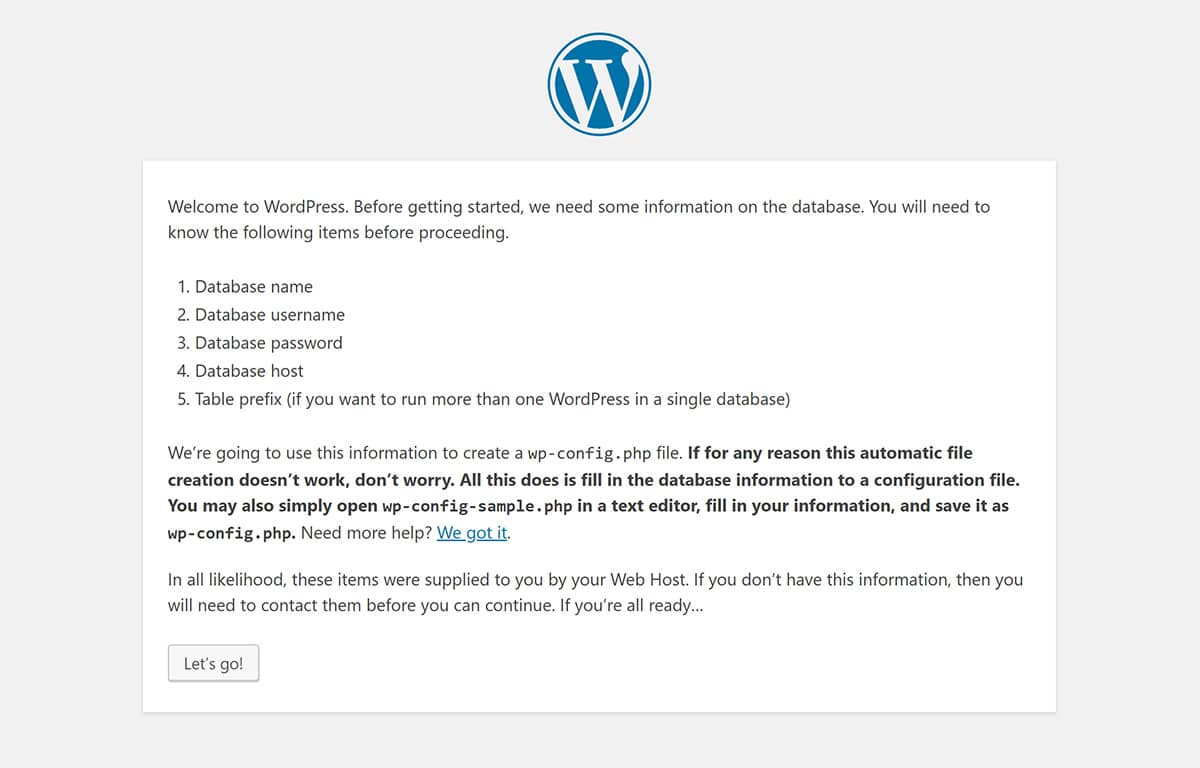 WordPress installer database information reminder
