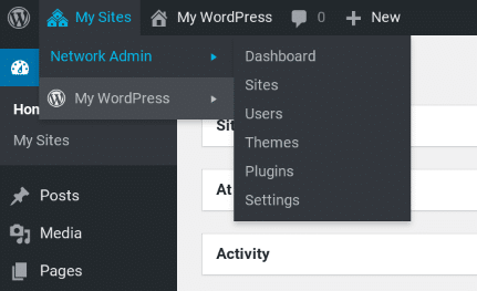 The WordPress Multisite menu items.