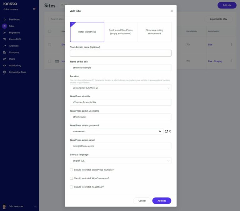 Install the open-source WordPress software at Kinsta