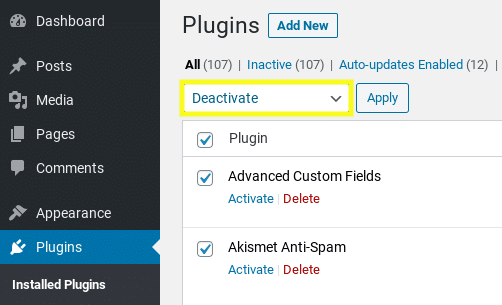 The screen to deactivate plugins in WordPress.