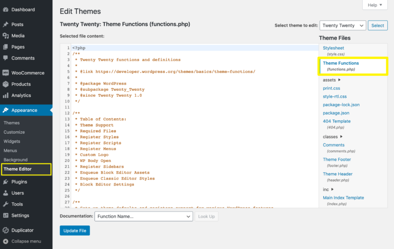 The WordPress Theme Editor.