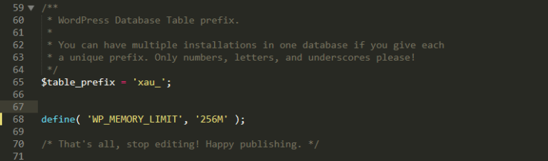 Opening the wp-config.php file.