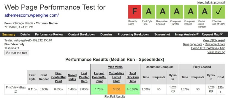 WP Engine WebPageTest results