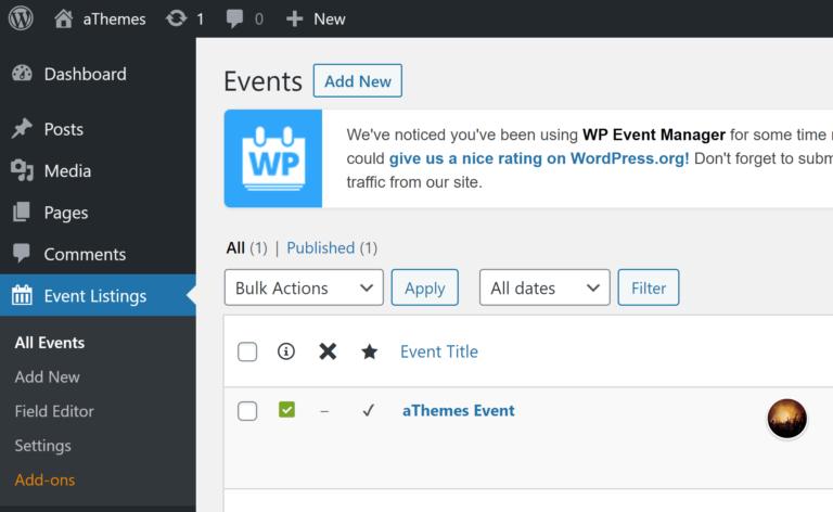 WP Event Manager Admin Menu