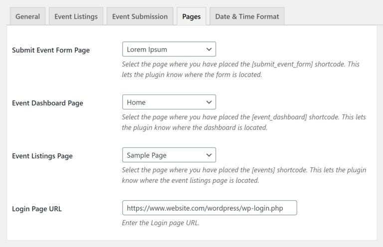Pages Settings in WP Event Manager