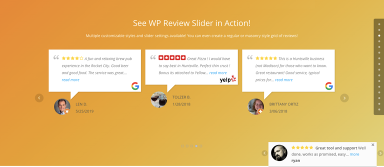 WP Review Slider Pro example