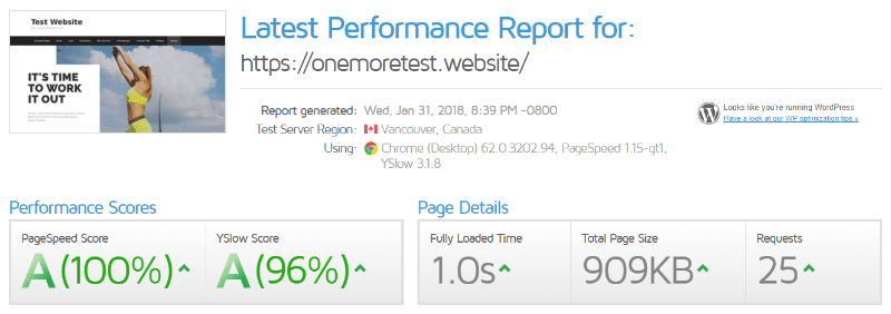 wp rocket performance test