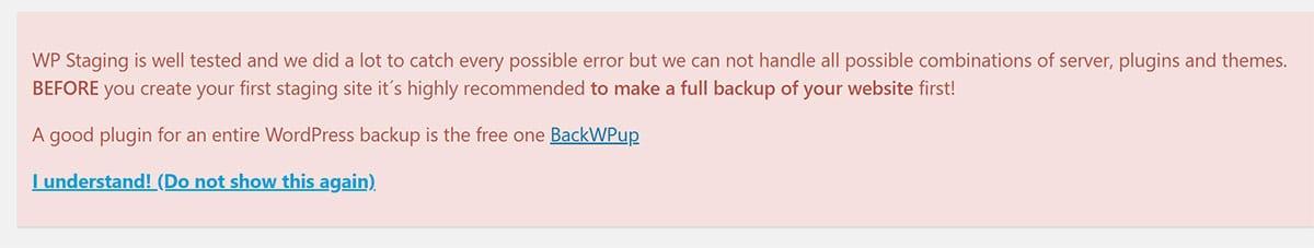 WP Staging Backup Message