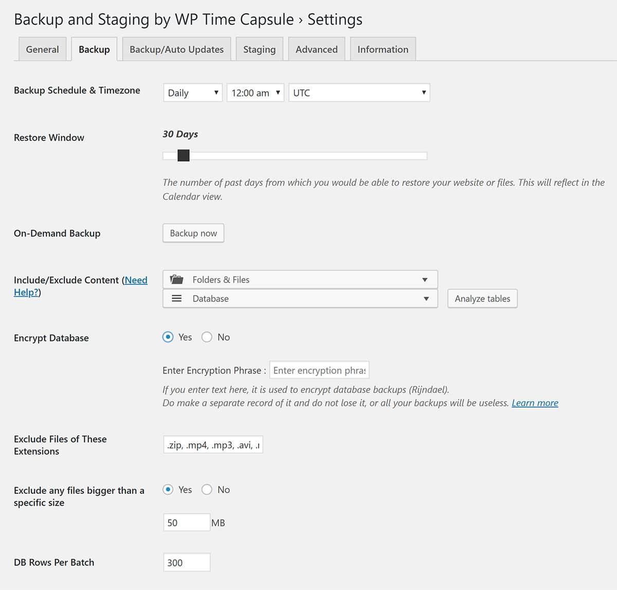 WP Time Capsule Backup Settings