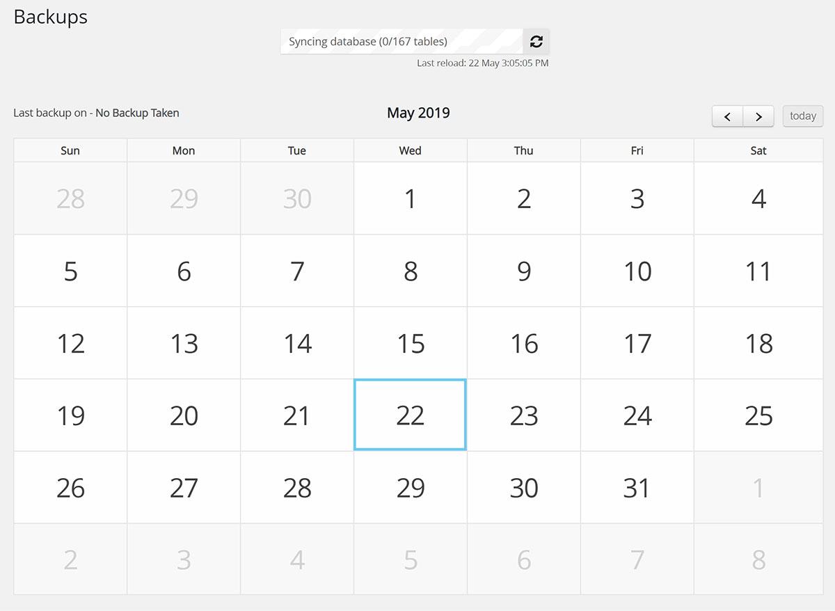 WP Time Capsule Backup Calendar
