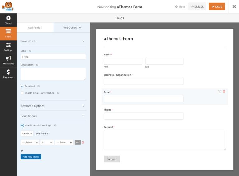 WPForms field settings