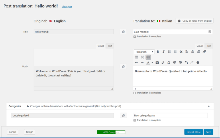 Translating English to Italian in WPML