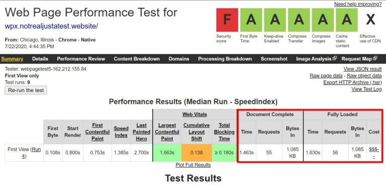 WPX Hosting test from WebPageTest