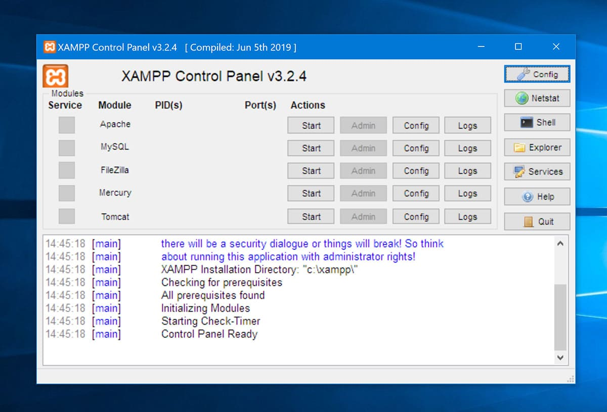 XAMPP control panel first launch