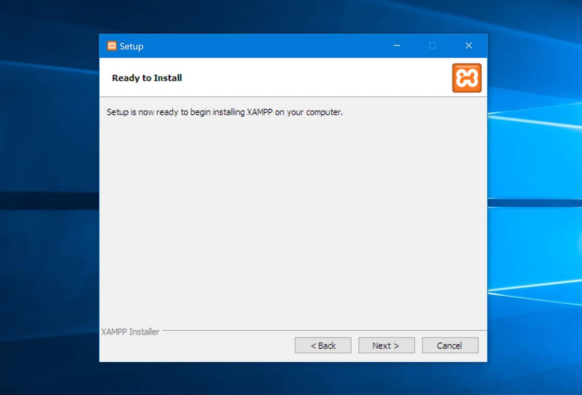 Begin to install XAMPP