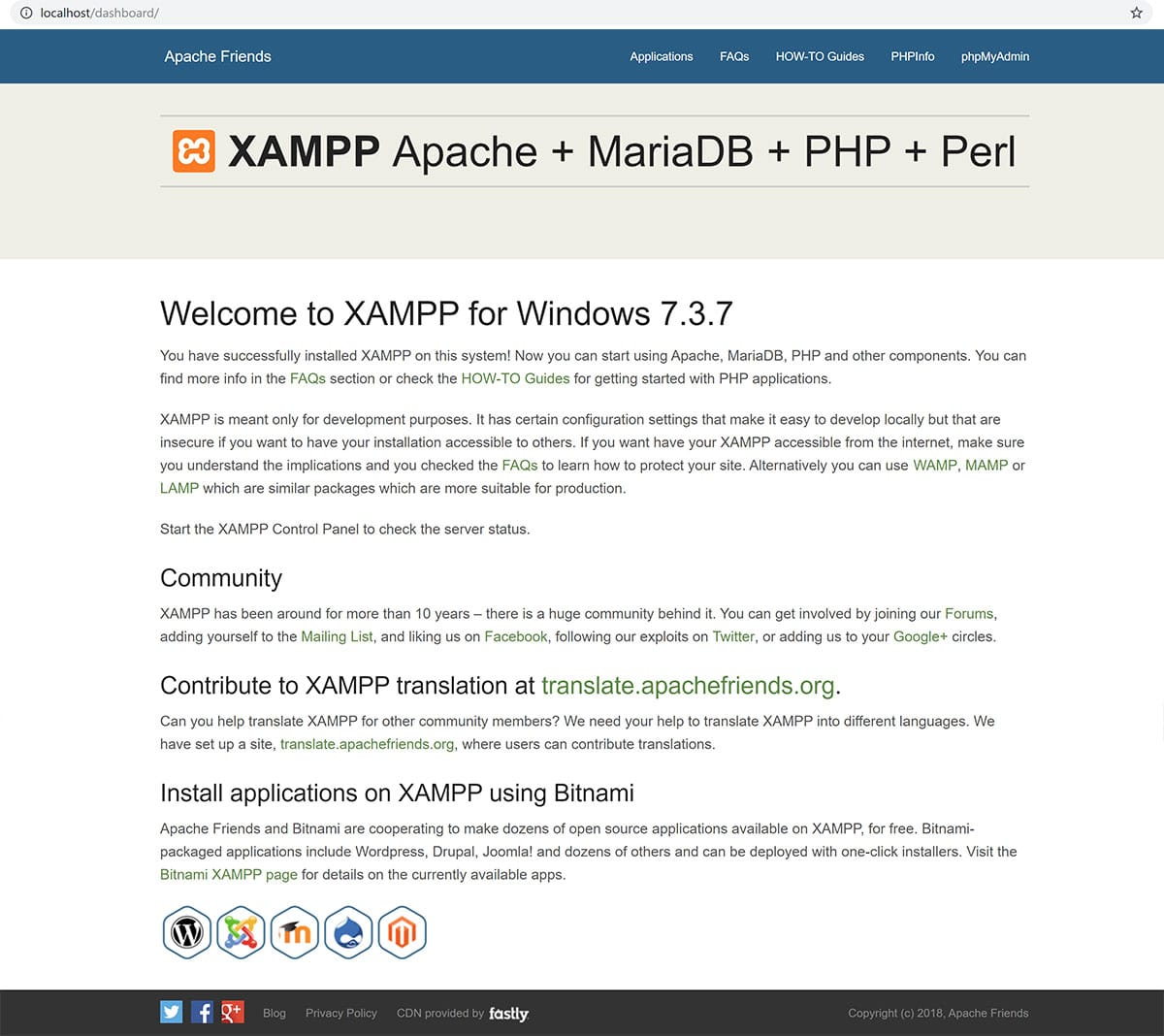 XAMPP local homepage