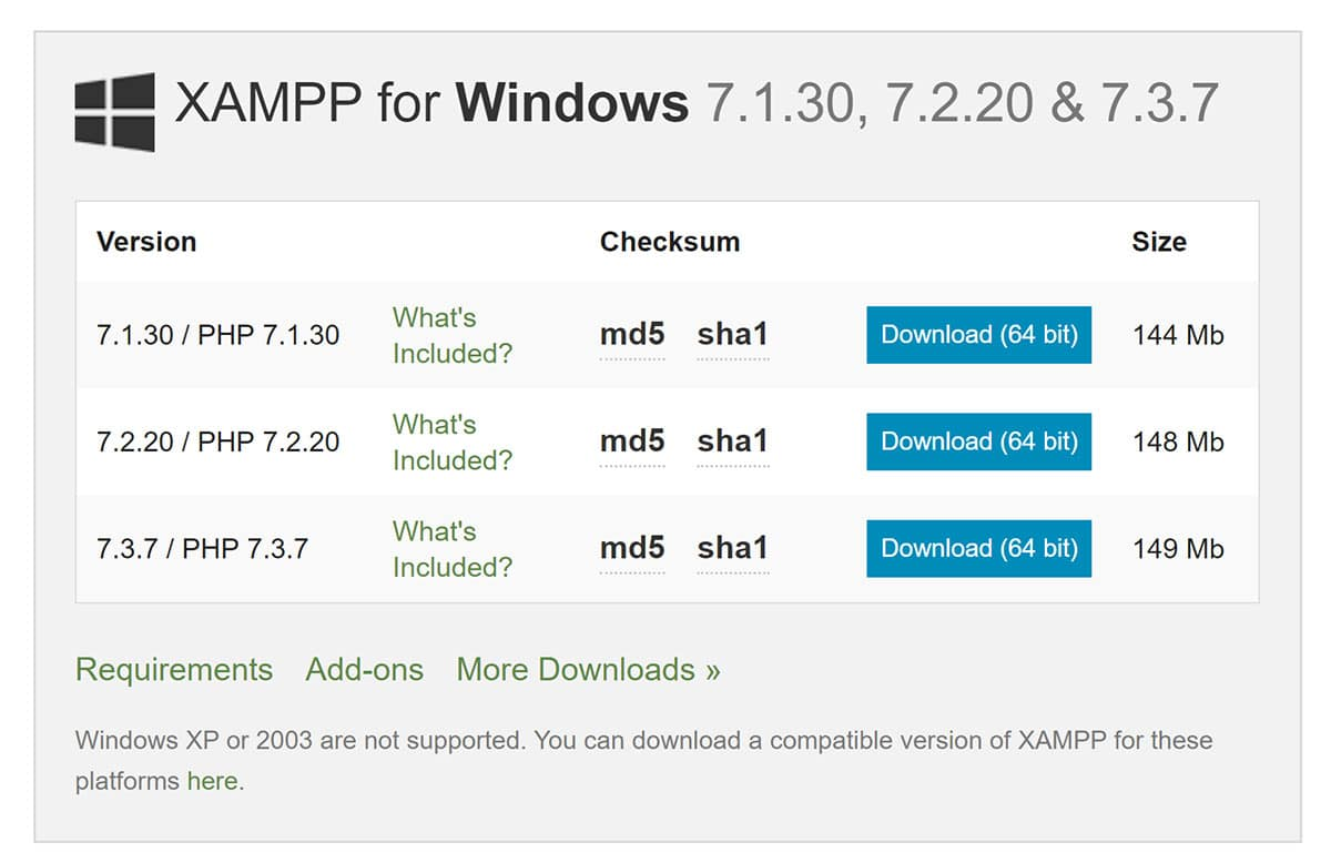 XAMPP Windows Downloads