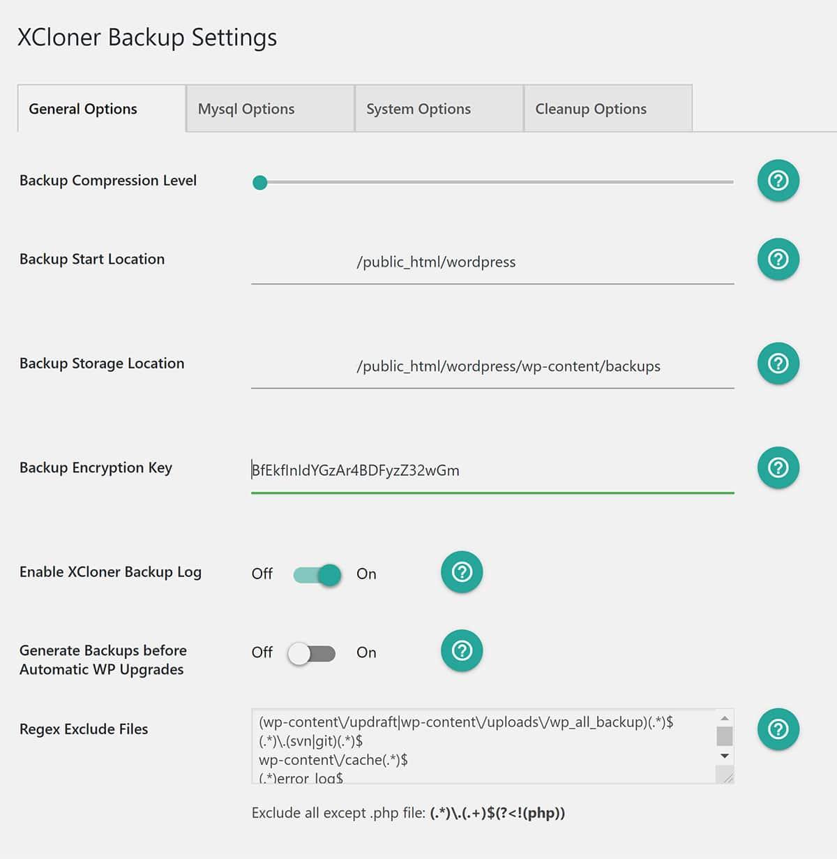 XCloner Backup Settings