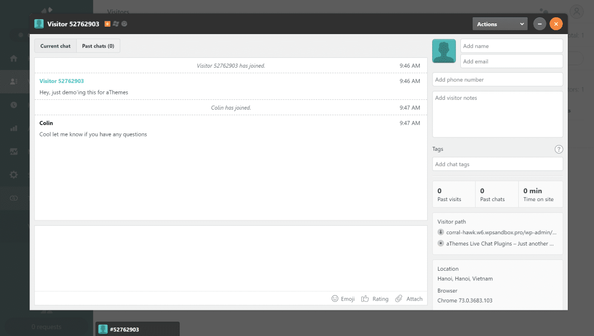 Zendesk Chat interface